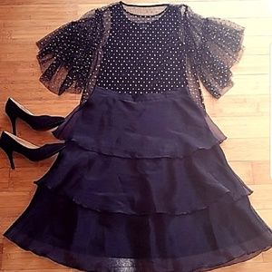 H&M Blouse with Gold Glitter Dots & Skirt